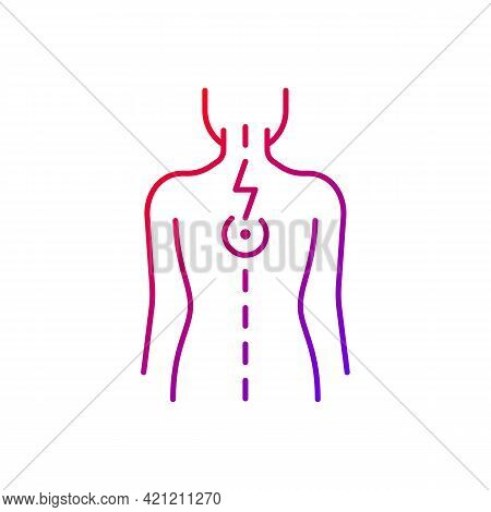 Pressure On Spinal Nerves Gradient Linear Vector Icon. Muscle Spasms. Pain Between Shoulder Blades.