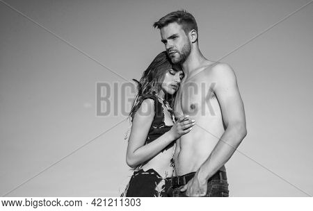 Being In Love. Hot Summer Weather. Macho Man Has Muscular Body. Sensual Couple In Love. Sexy Girl We