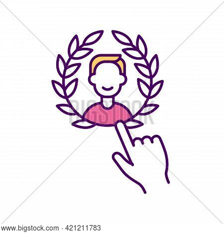 Example Of Successful Leader Rgb Color Icon. Personal Brand. Winner Laurel Wreath. Positive Impact O