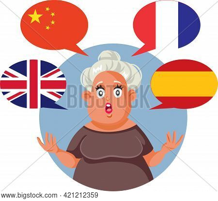 Polyglot Woman Speaking English, Chinese, French And Spanish