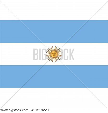 Flag Of Argentina Vector Illustration Isolated On White Background. Blue And White Stripes And Sol D