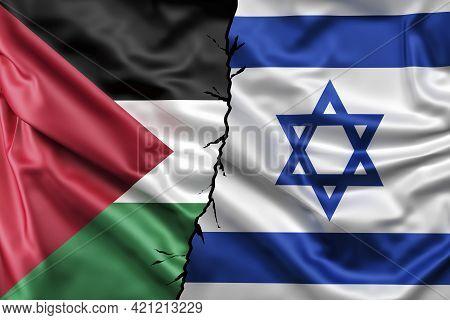 Israel Vs Palestine Flags. Waving Flag Design Overlap, The Flag Of Israel And Palestine Breaking Rel