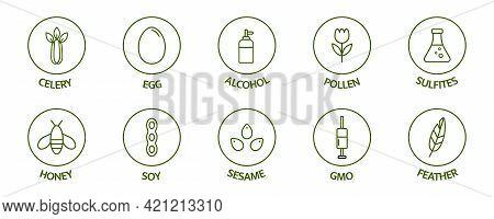 Allergen Line Icon Set. Allergy Warning Ingredients. Soybean Nut Celery, Corn, Milk, Honey , Sugar A