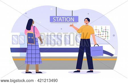 Male And Female Passengers Are Using Railway Station Together. Young Man And Woman Are Standing On S