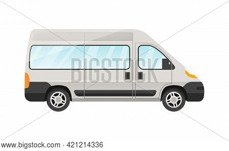Design Of White Van Passengers Car Isolated On White Background. Passenger Car Side View. Concept Of