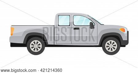 Design Of Grey Pickup Passengers Car Isolated On White Background. Passenger Car Side View. Concept