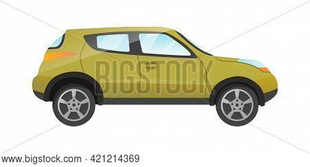 Design Of Green Suv Passengers Car Isolated On White Background. Passenger Car Side View. Concept Of