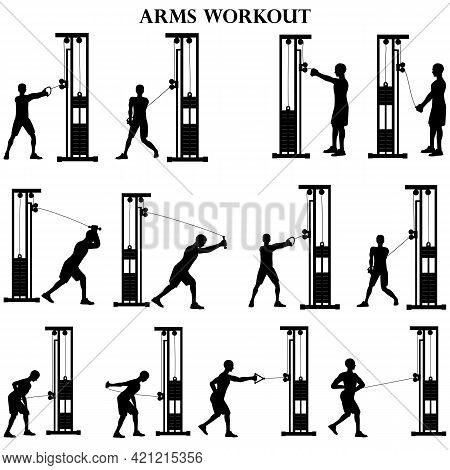 Workout Man Set. Arms Workout Illustration Silhouette On The White Background. Vector Illustration