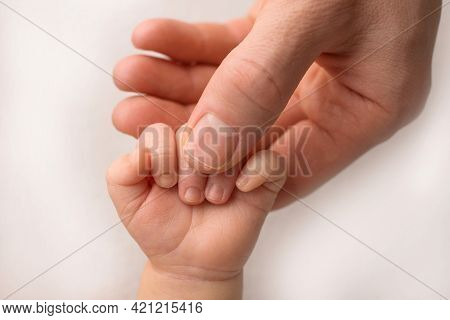 A Newborn Holds On To Moms, Dads Finger. Hands Of Parents And Baby Close Up. A Child Trusts And Hold