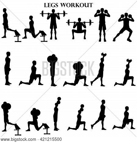 Workout Man Set. Legs Workout Illustration Silhouette On The White Background. Vector Illustration