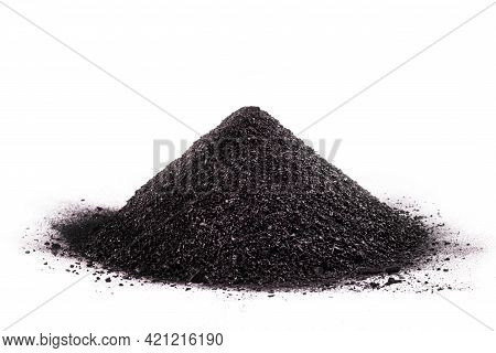 Gunpowder Pile Isolated On White Background, Explosive Product, Made With Coal, Sulfur And Saltpeter
