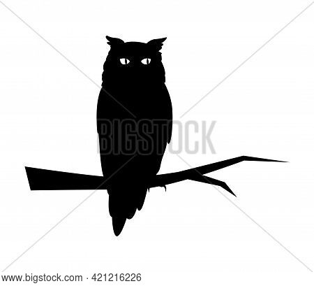 Cartoon Set Of Black Halloween Holiday Silhouette Element Of Owl Isolated On White Background. Black