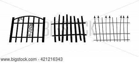 Set Of Black Halloween Holiday Silhouette Elements Of Spooky Fences Isolated On White Background. Bl