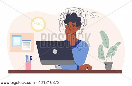 Young Male Character Is Sitting At A Table With Computer And Struggles With Learning Problems. Conce