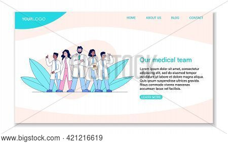 Group Of Hospital Professional Medical Staff Standing Together. Male And Female Physicians, Doctors,