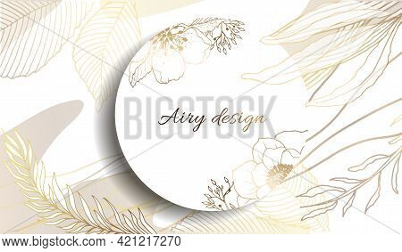 Gold Frame. 3D Paper Cutout. Leaves And Flowers From Golden Threads. Round Frame With Summer Flowers