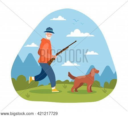 Grey Male Elderly Character With Gun And Dog Hunting Outdoors. Hunter Is Running With Rifle And Dog