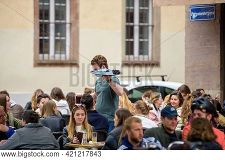 Strasbourg, France - May 19, 2021: People Eating Drinking At The Terrace Of La Nouvelle Poste On Ped