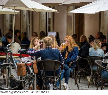 Strasbourg, France - May 19, 2021: Friends People Eating Drinking At The Terrace Of Academie De La B