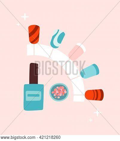 Sticker Of Female Manicure Polish On Pink Background. Concept Of Lady Painting, Polishing Nails. Nai