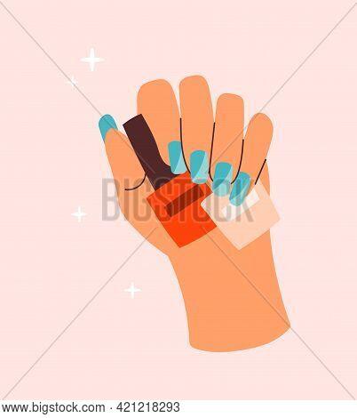 Sticker Of Female Hand Holding Manicure Polish On Pink Background. Concept Of Lady Painting, Polishi
