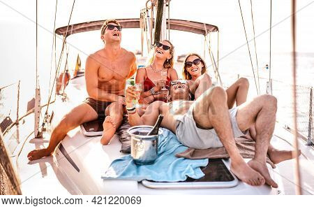Happy Young Friends Having Fun At Sailboat Party - Wanderlust Travel Concept With Millenial People O