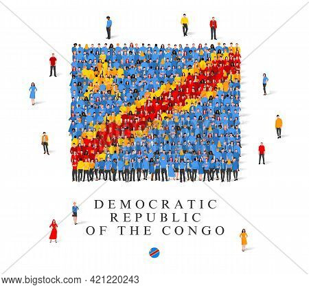 A Large Group Of People Are Standing In Blue, Yellow And Red Robes, Symbolizing The Flag Of The Demo