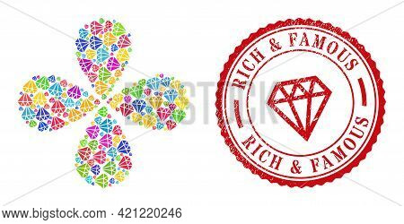 Adamant Crystal Colorful Rotation Flower Shape, And Red Round Rich And Famous Unclean Stamp Seal. Ad