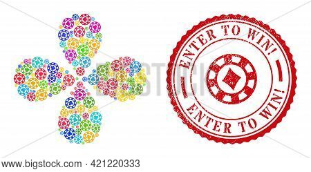 Clubs Casino Chip Multicolored Curl Flower With Four Petals, And Red Round Enter To Win Exciting. Un