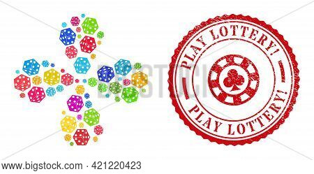 Dice Cube Colored Explosion Flower Cluster, And Red Round Play Lottery Exciting. Rubber Badge. Dice