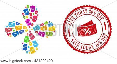 Discount Coupones Colorful Rotation Flower Shape, And Red Round Save Today 30 Percent Off Textured B