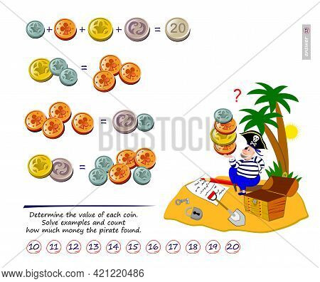 Math Logic Puzzle Game For Smartest. Determine The Value Of Each Coin. Solve Examples And Count How