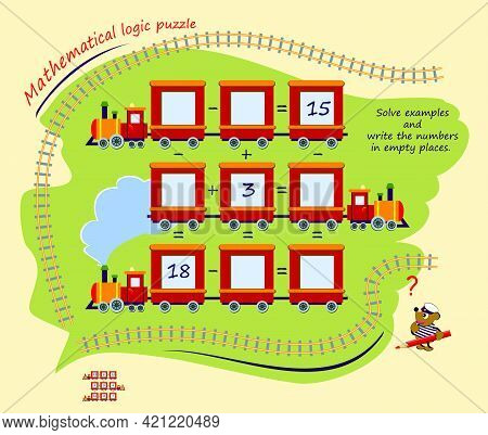 Mathematical Logic Puzzle Game. Solve Examples And Write Numbers In Empty Places. Page For Brain Tea