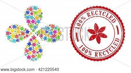 Flower Colorful Explosion Flower With Four Petals, And Red Round 100 Percent Recycled Textured Stamp