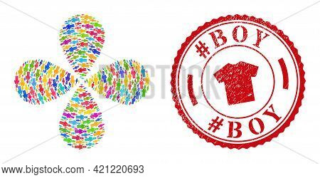Gentleman Colorful Centrifugal Flower Shape, And Red Round Hashtag Boy Rough Stamp Imitation. Gentle
