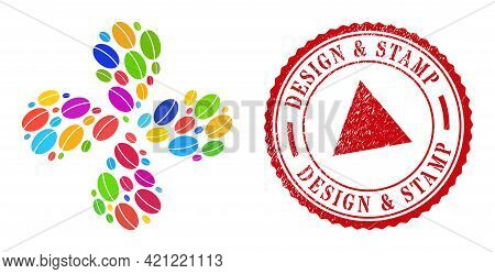 Wheet Seed Bright Explosion Flower With Four Petals, And Red Round Design And Stamp Rubber Stamp Pri