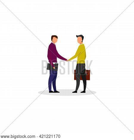 Businessman Handshake Flat Vector Illustration. Business Partners, Investors, Entrepreneurs Making D