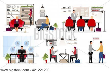 Recruiting Staff Flat Vector Characters Set. Employment Service. Applying For New Job. Hr Agency Wor