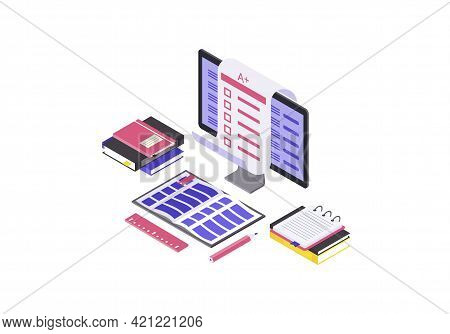 Online Examination Isometric Color Vector Illustration. Student Test, Knowledge Check Infographic. C