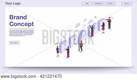 Brand Webpage Vector Template With Isometric Illustration. Business Plan. Corporate Strategy Develop