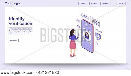 Identity Verification Webpage Vector Template With Isometric Illustration. Biometric Identification.