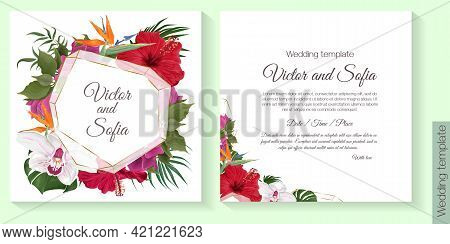 Floral Design For Wedding Invitation. Gold Round Frame, Red Hibiscus, Strelitzia, Orchid, Bougainvil