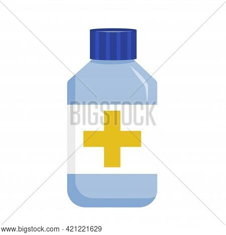 Medical Medication Tablets In Jar Are Isolated On White Background. Remedy For Pain. Tablets And Cap