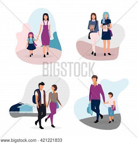 School Life Flat Illustrations Set. Teenage And Preteen Schoolchildren. Schoolmates, School Couple,