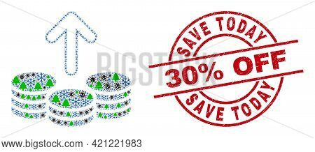 Winter Coronavirus Composition Spend Coins, And Scratched Save Today 30 Percent Off Red Round Stamp