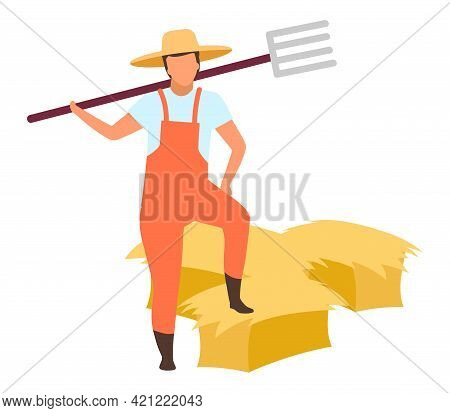 Hay Harvesting Flat Vector Illustration. Farm Worker With Pitchfork Cartoon Character Isolated On Wh