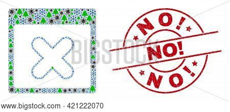Winter Viral Mosaic Close Application Window, And No Exclamation. Red Round Stamp Seal. Collage Clos