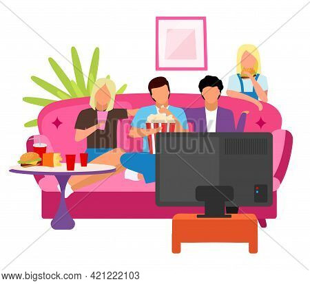 Friends Together Watching Movie Flat Illustration. Guys And Girls Spending Time, Evening At Home Wit