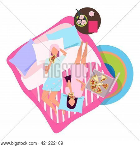 Sleepover Party With Pizza Flat Illustration. Girlfriends In Pajamas On Bed Cartoon Characters. Best