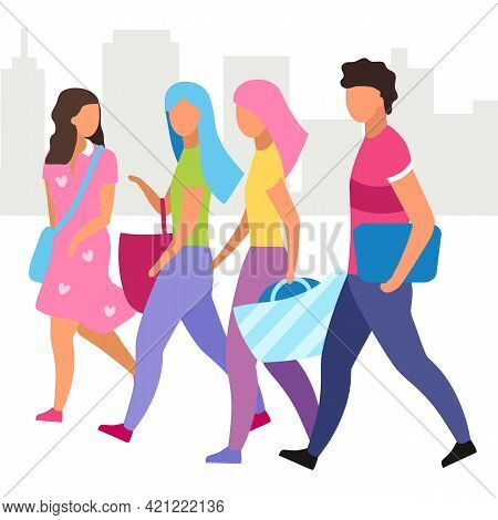 Group Of People Walking Street Flat Vector Illustration. Friends Walk And Talking Together Cartoon C